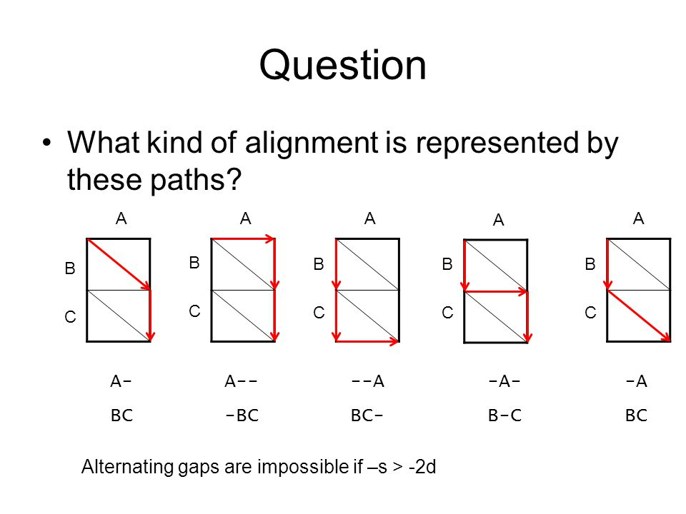Question What kind of alignment is represented by these paths? A BCBC A BCBC A BCBC A BCBC A BCBC A- BC A-- -BC --A BC- -A- B-C -A BC Alternating gaps