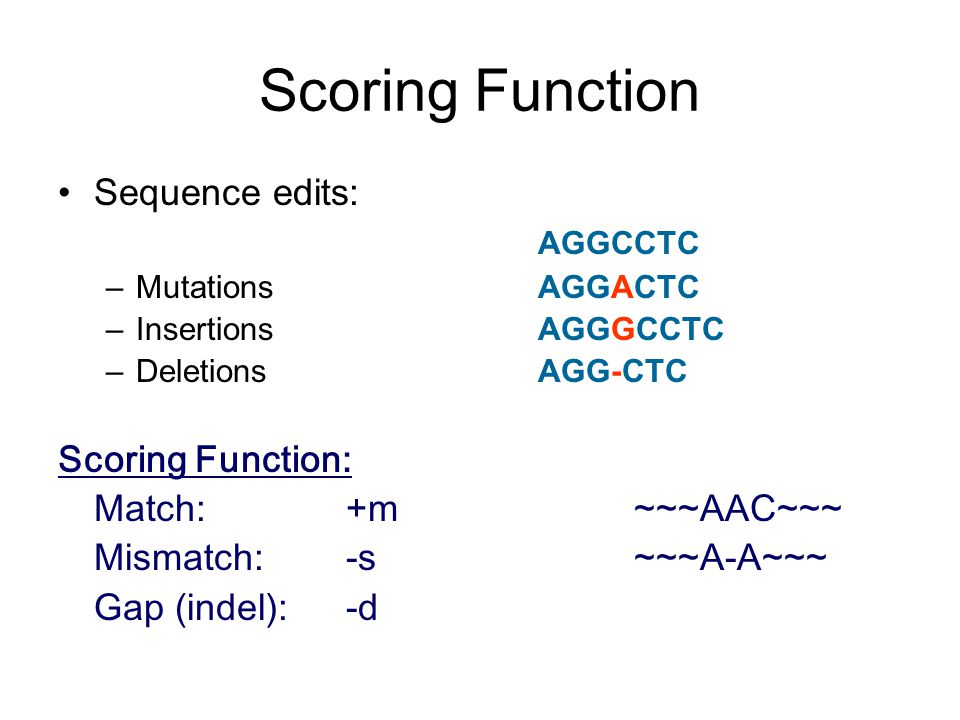 Scoring Function Sequence edits: AGGCCTC –Mutations AGGACTC –InsertionsAGGGCCTC –DeletionsAGG-CTC Scoring Function: Match: +m~~~AAC~~~ Mismatch: -s~~~A-A~~~ Gap (indel):-d