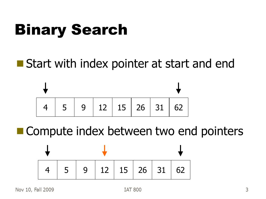 Nov 10, Fall 2009IAT 8004 Binary Search  Compare middle item to search item  If search < mid: move end to mid -1 45912152631624591215263162