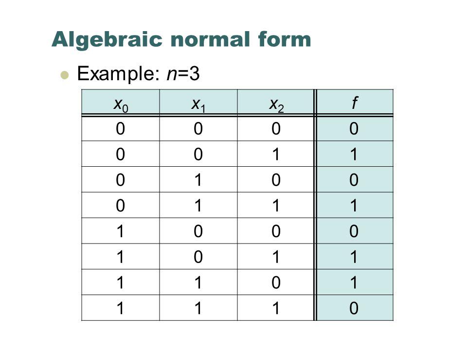 Algebraic normal form Example: n=3 x0x0 x1x1 x2x2 f 0000 0011 0100 0111 1000 1011 1101 1110