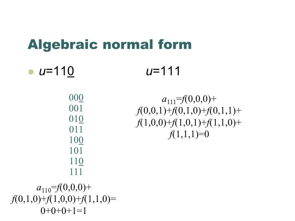 Algebraic normal form u=110u=111 000 001 010 011 100 101 110 111 a 110 =f(0,0,0)+ f(0,1,0)+f(1,0,0)+f(1,1,0)= 0+0+0+1=1 a 111 =f(0,0,0)+ f(0,0,1)+f(0,1,0)+f(0,1,1)+ f(1,0,0)+f(1,0,1)+f(1,1,0)+ f(1,1,1)=0