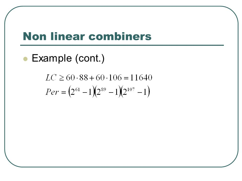 Non linear combiners Example (cont.)