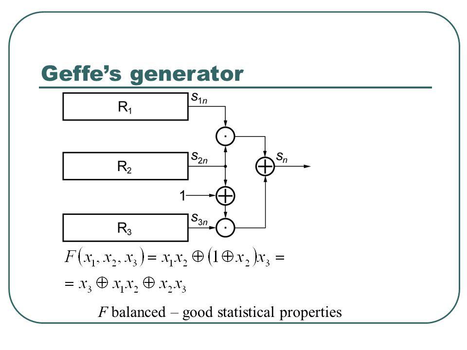 Geffe's generator F balanced – good statistical properties
