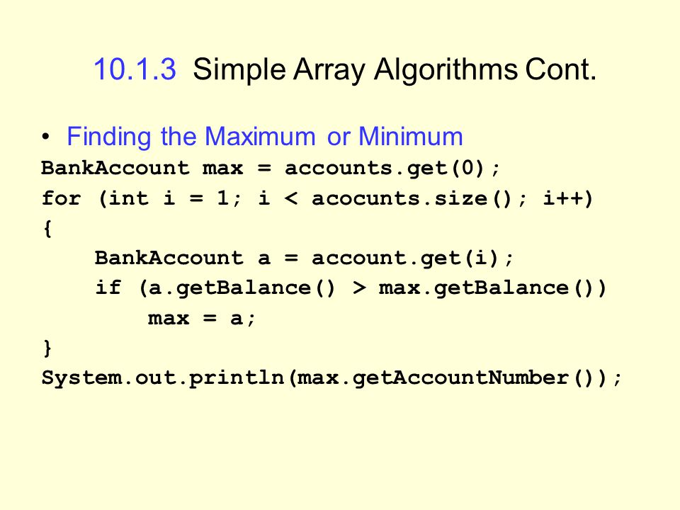 10.1.3 Simple Array Algorithms Cont.