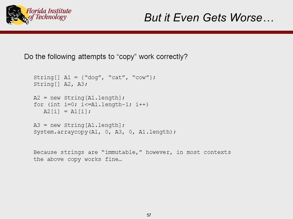 """57 But it Even Gets Worse… Do the following attempts to """"copy"""" work correctly? String[] A1 = {""""dog"""", """"cat"""", """"cow""""}; String[] A2, A3; A2 = new String[A"""