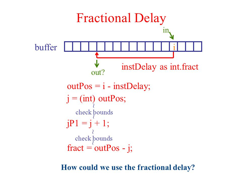 Fractional Delay i in buffer out? instDelay as int.fract outPos = i - instDelay; j = (int) outPos; jP1 = j + 1; fract = outPos - j; check bounds ~ ~ ~