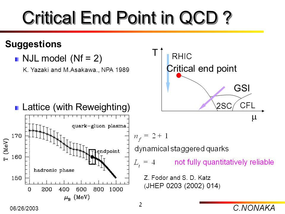 C.NONAKA 06/26/2003 2 Critical End Point in QCD ? Critical End Point in QCD ? Z. Fodor and S. D. Katz ( JHEP 0203 (2002) 014 ) NJL model (Nf = 2) Latt