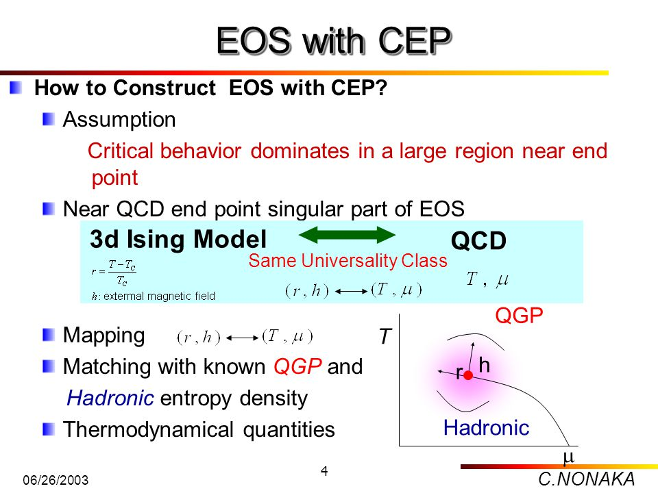 C.NONAKA 06/26/2003 4 How to Construct EOS with CEP? Assumption Critical behavior dominates in a large region near end point Near QCD end point singul