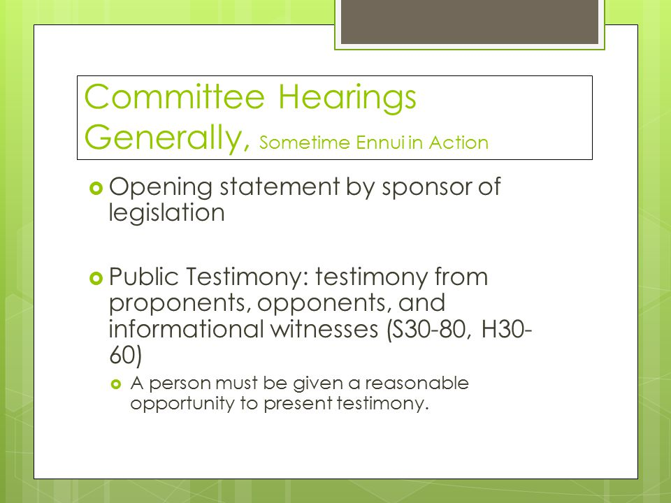 Committee Hearings Generally, Sometime Ennui in Action  Opening statement by sponsor of legislation  Public Testimony: testimony from proponents, opponents, and informational witnesses (S30-80, H30- 60)  A person must be given a reasonable opportunity to present testimony.