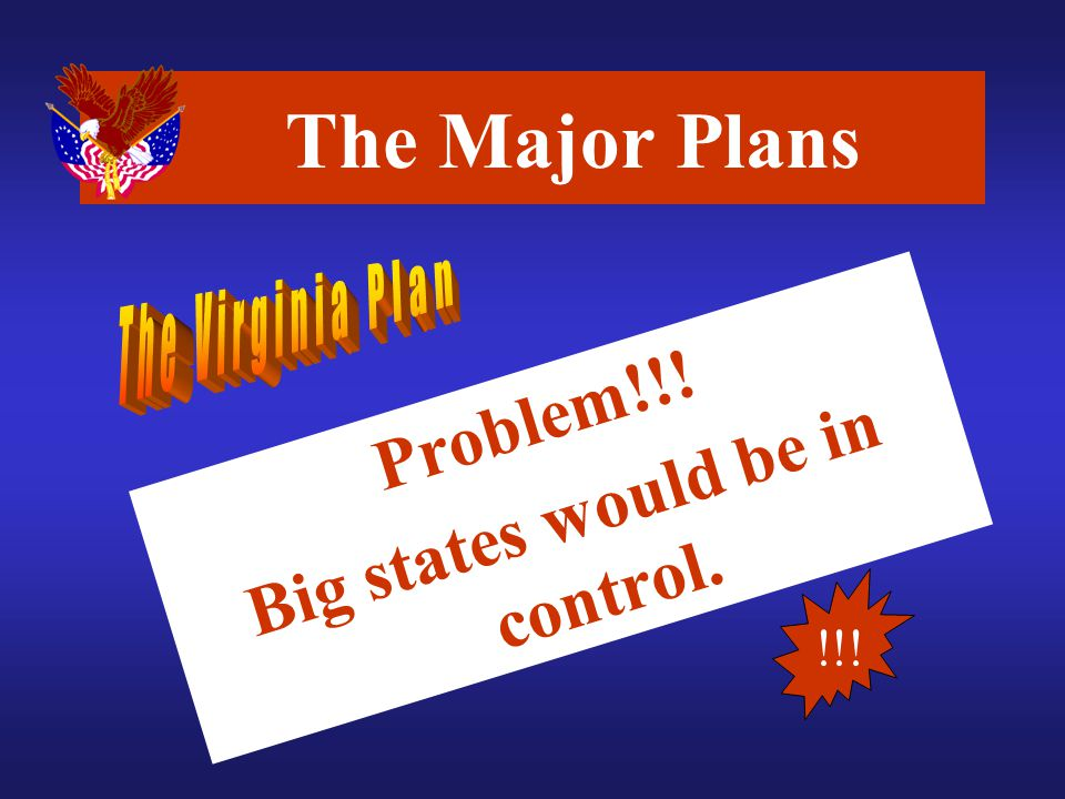 Problem!!! Big states would be in control. The Major Plans !!!