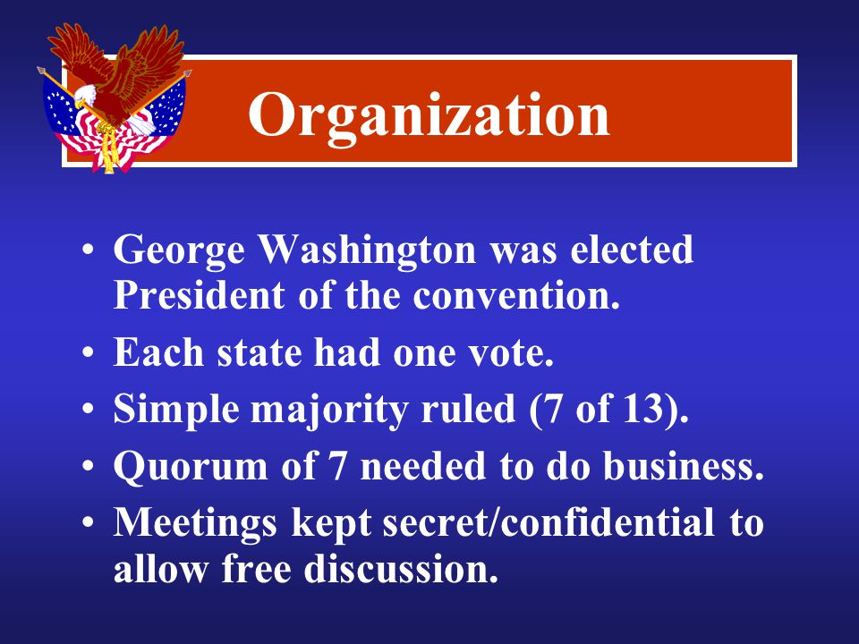 Organization George Washington was elected President of the convention.