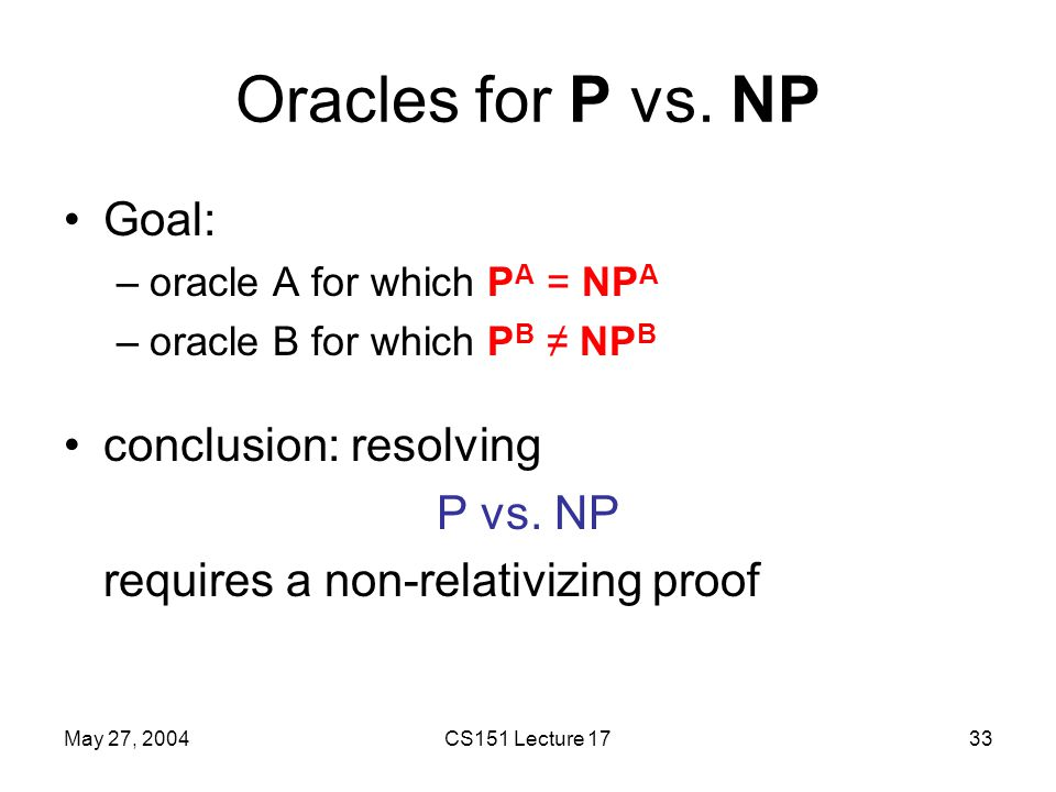 May 27, 2004CS151 Lecture 1733 Oracles for P vs.
