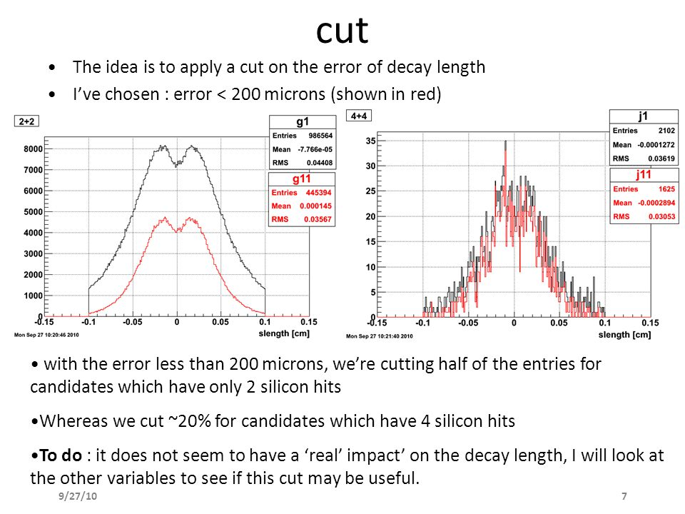 9/27/107 cut The idea is to apply a cut on the error of decay length I've chosen : error < 200 microns (shown in red) with the error less than 200 microns, we're cutting half of the entries for candidates which have only 2 silicon hits Whereas we cut ~20% for candidates which have 4 silicon hits To do : it does not seem to have a 'real' impact' on the decay length, I will look at the other variables to see if this cut may be useful.