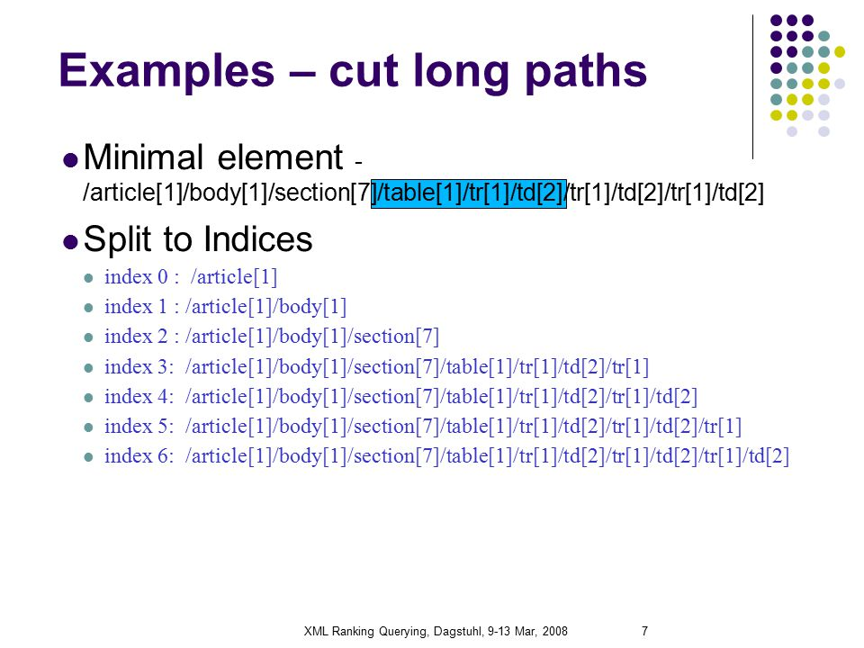 XML Ranking Querying, Dagstuhl, 9-13 Mar, 20087 Examples – cut long paths Minimal element - /article[1]/body[1]/section[7]/table[1]/tr[1]/td[2]/tr[1]/td[2]/tr[1]/td[2] Split to Indices index 0 : /article[1] index 1 : /article[1]/body[1] index 2 : /article[1]/body[1]/section[7] index 3: /article[1]/body[1]/section[7]/table[1]/tr[1]/td[2]/tr[1] index 4: /article[1]/body[1]/section[7]/table[1]/tr[1]/td[2]/tr[1]/td[2] index 5: /article[1]/body[1]/section[7]/table[1]/tr[1]/td[2]/tr[1]/td[2]/tr[1] index 6: /article[1]/body[1]/section[7]/table[1]/tr[1]/td[2]/tr[1]/td[2]/tr[1]/td[2]