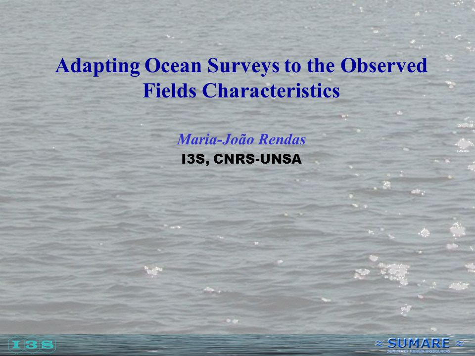 Adapting Ocean Surveys to the Observed Fields Characteristics Maria-João Rendas I3S, CNRS-UNSA