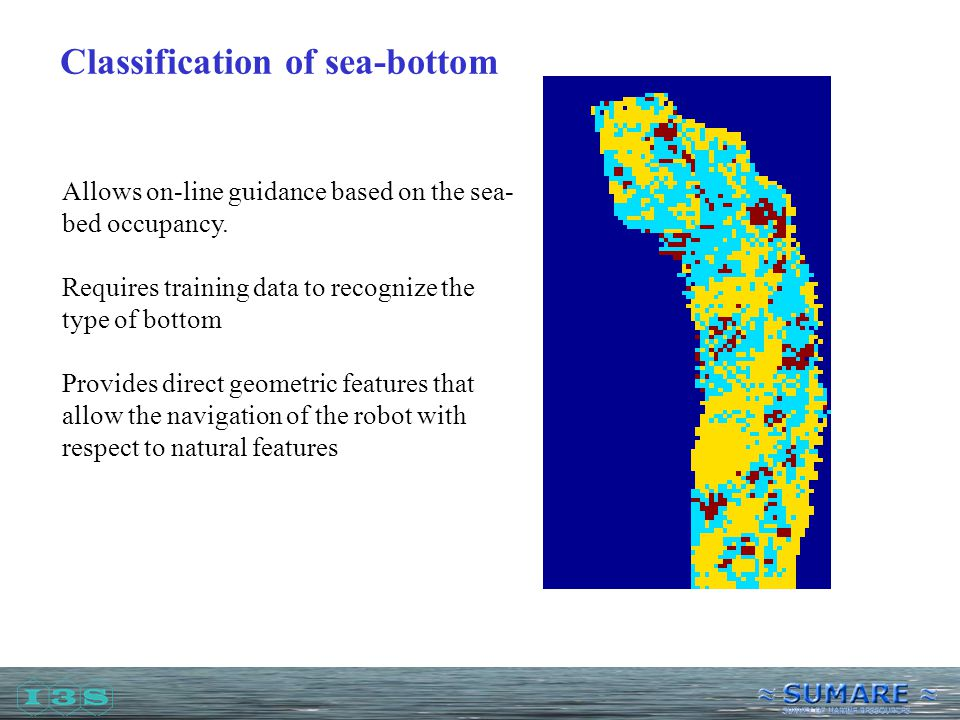 Classification of sea-bottom Allows on-line guidance based on the sea- bed occupancy.
