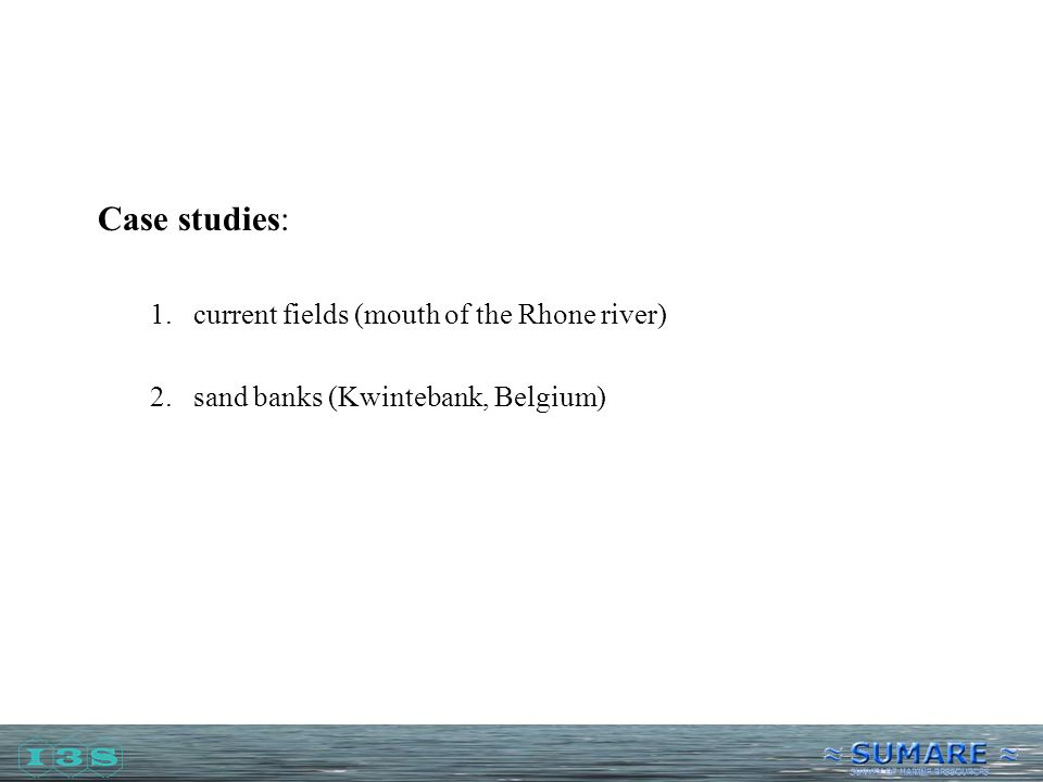 Case studies: 1.current fields (mouth of the Rhone river) 2.sand banks (Kwintebank, Belgium)