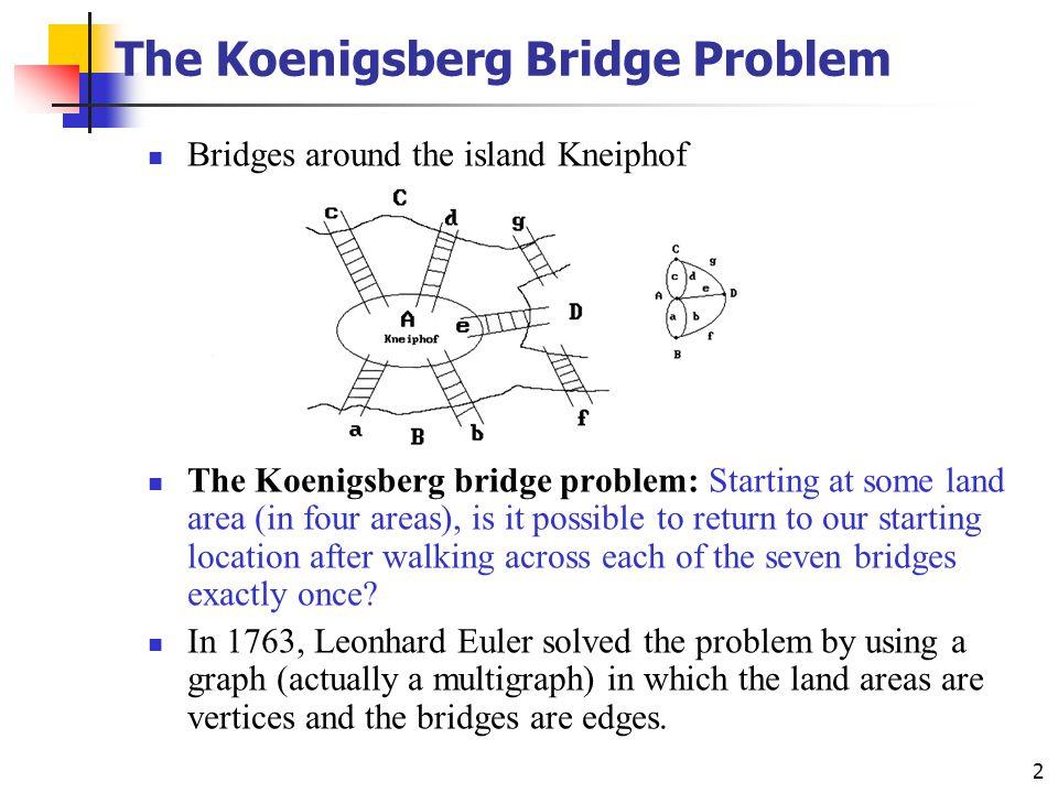 2 The Koenigsberg Bridge Problem Bridges around the island Kneiphof The Koenigsberg bridge problem: Starting at some land area (in four areas), is it