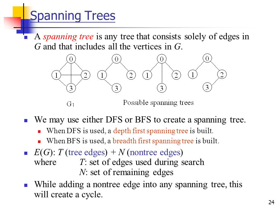 24 Spanning Trees A spanning tree is any tree that consists solely of edges in G and that includes all the vertices in G. We may use either DFS or BFS