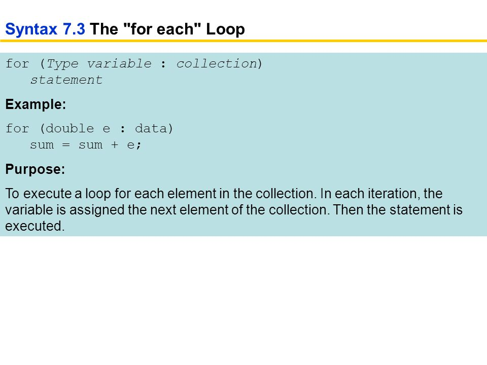 for (Type variable : collection) statement Example: for (double e : data) sum = sum + e; Purpose: To execute a loop for each element in the collection.