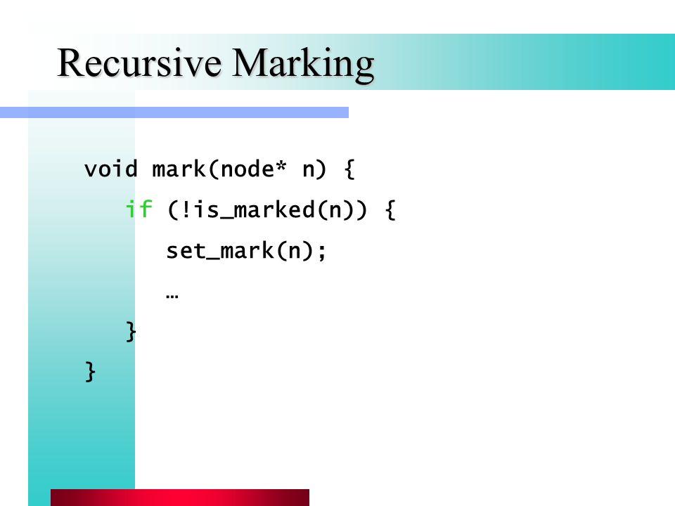 Recursive Marking void mark(node* n) { if (!is_marked(n)) { set_mark(n); … }