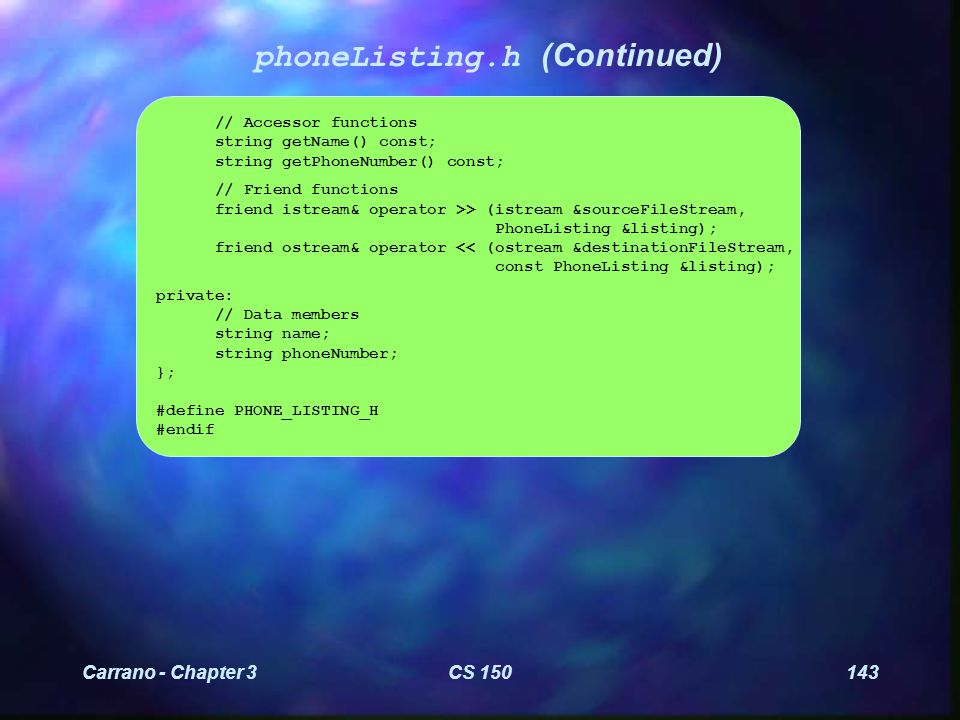 Carrano - Chapter 3CS 150144 phoneListing.cpp ////////////////////////////////////////////////////////// // phoneListing.cpp // // The class implementation for the PhoneListing class.