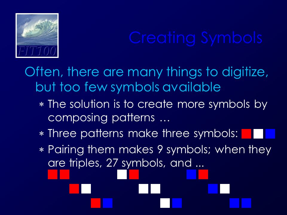 Creating Symbols Often, there are many things to digitize, but too few symbols available  The solution is to create more symbols by composing pattern