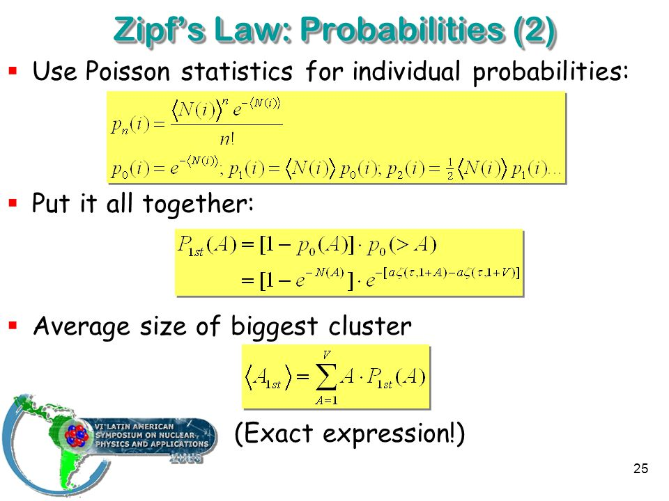 25 Zipf's Law: Probabilities (2)  Use Poisson statistics for individual probabilities:  Put it all together:  Average size of biggest cluster (Exact expression!)