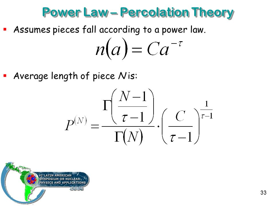 33 Power Law – Percolation Theory  Assumes pieces fall according to a power law.