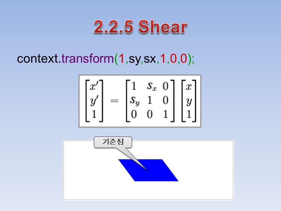 context.transform(1,sy,sx,1,0,0); 기준점