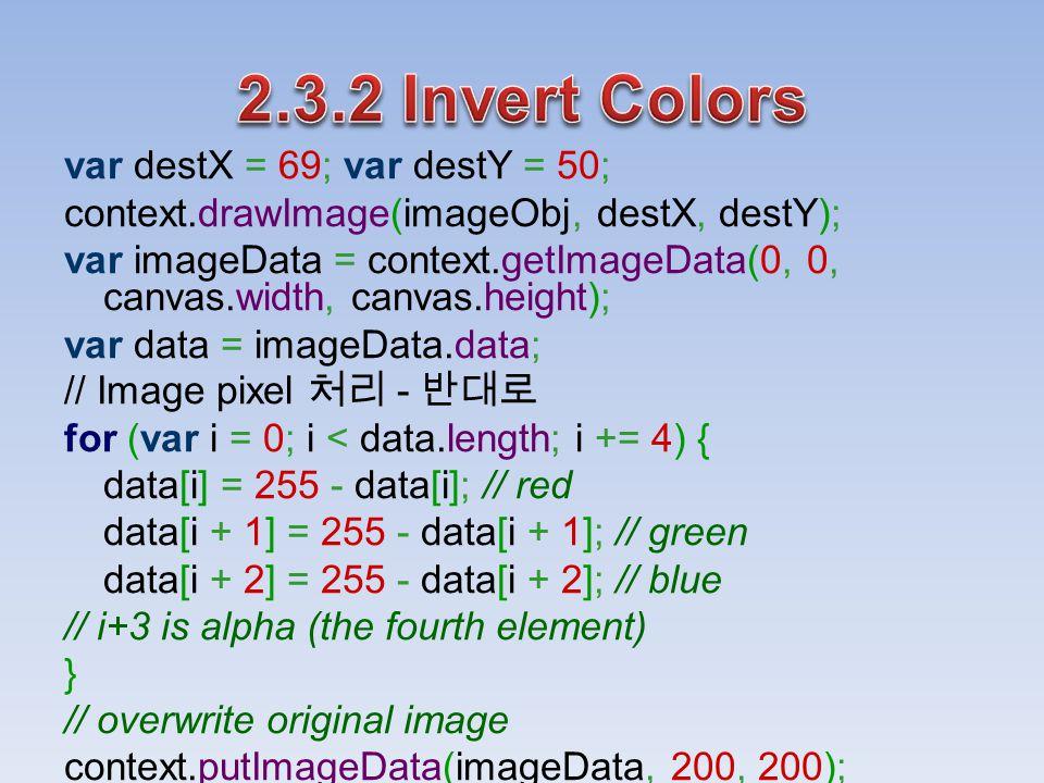 var destX = 69; var destY = 50; context.drawImage(imageObj, destX, destY); var imageData = context.getImageData(0, 0, canvas.width, canvas.height); var data = imageData.data; // Image pixel 처리 - 반대로 for (var i = 0; i < data.length; i += 4) { data[i] = 255 - data[i]; // red data[i + 1] = 255 - data[i + 1]; // green data[i + 2] = 255 - data[i + 2]; // blue // i+3 is alpha (the fourth element) } // overwrite original image context.putImageData(imageData, 200, 200);