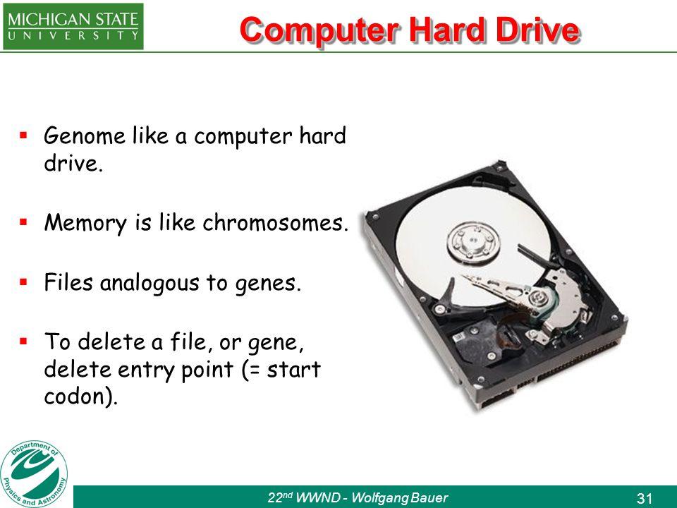 22 nd WWND - Wolfgang Bauer 31 Computer Hard Drive  Genome like a computer hard drive.
