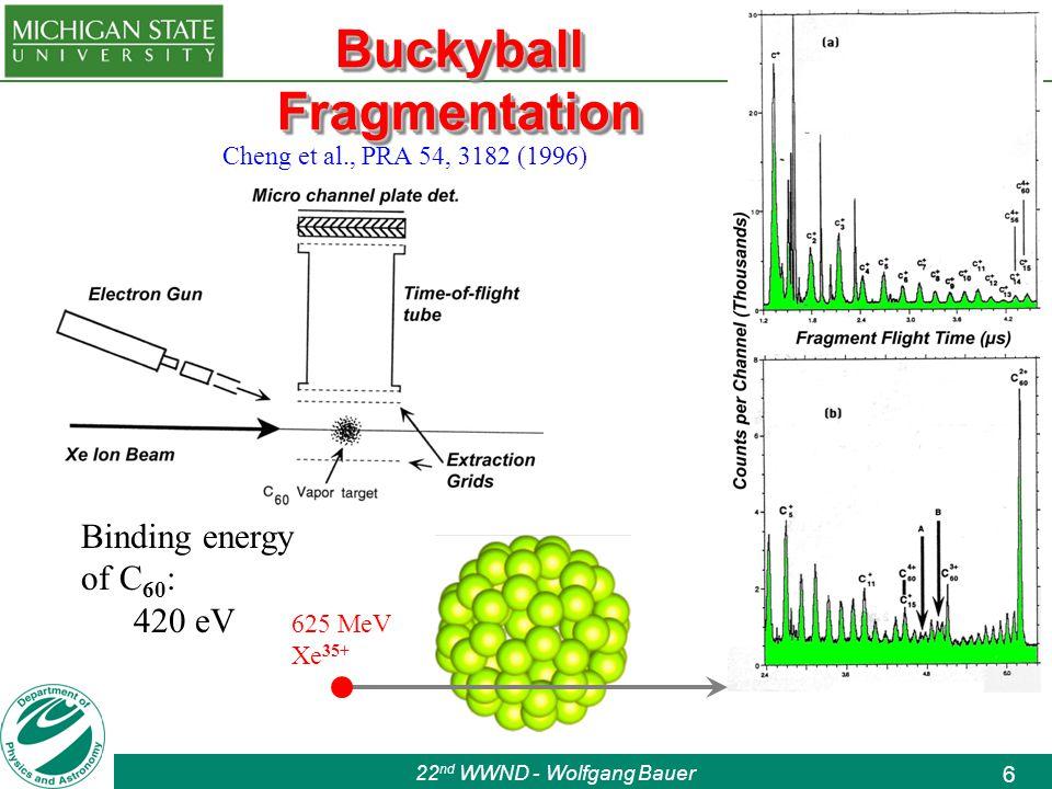 22 nd WWND - Wolfgang Bauer 6 Buckyball Fragmentation 625 MeV Xe 35+ Cheng et al., PRA 54, 3182 (1996) Binding energy of C 60 : 420 eV