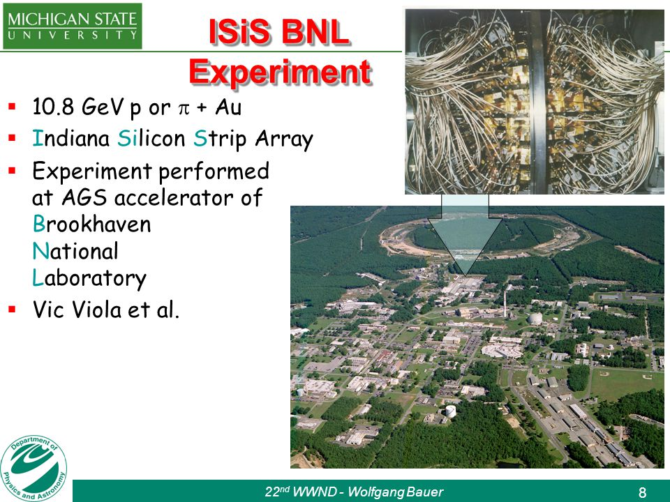 22 nd WWND - Wolfgang Bauer 8 ISiS BNL Experiment  10.8 GeV p or  + Au  Indiana Silicon Strip Array  Experiment performed at AGS accelerator of Brookhaven National Laboratory  Vic Viola et al.