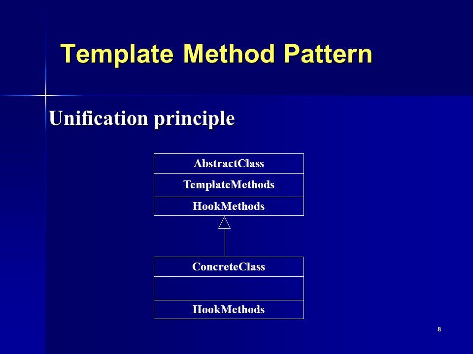 9 Strategy Pattern Separation principle Strategy HookMethods ConcreteStrategyB HookMethods ConcreteStrategyC HookMethods ConcreteStrategyA HookMethods Context TemplateMethods strategy