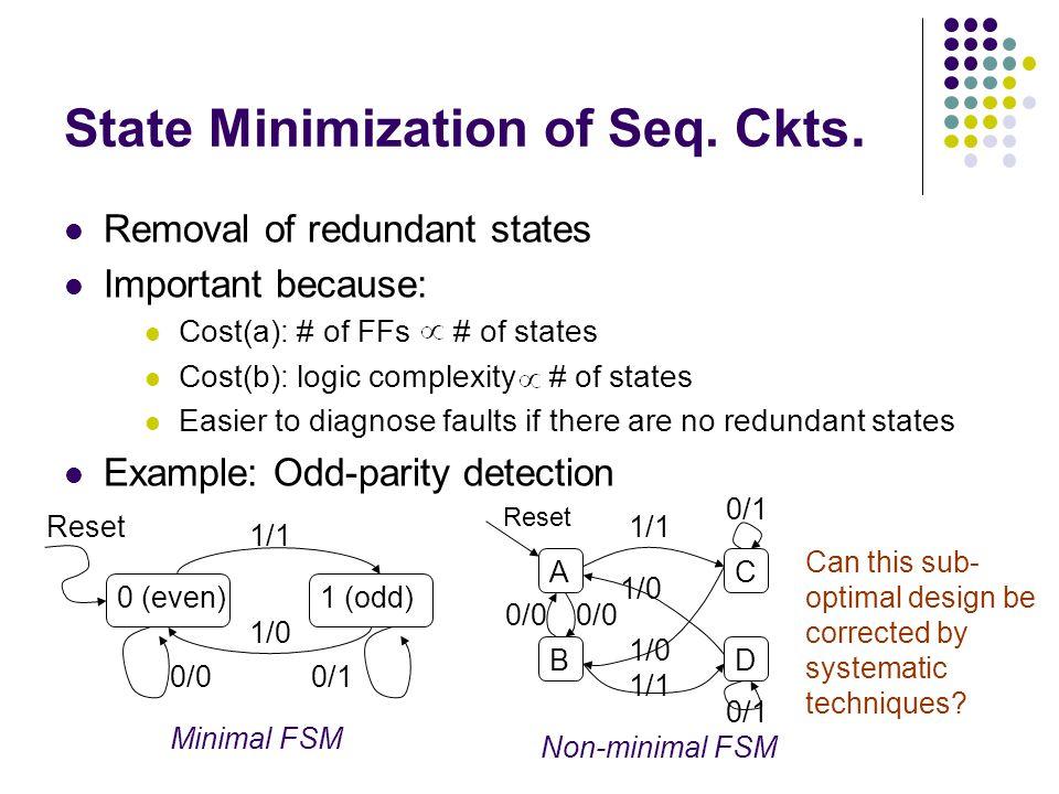 State Minimization of Seq. Ckts.