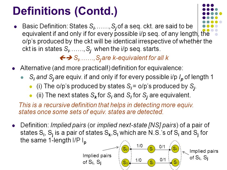 Definitions (Contd.) Basic Definition: States S i,……,S j of a seq.