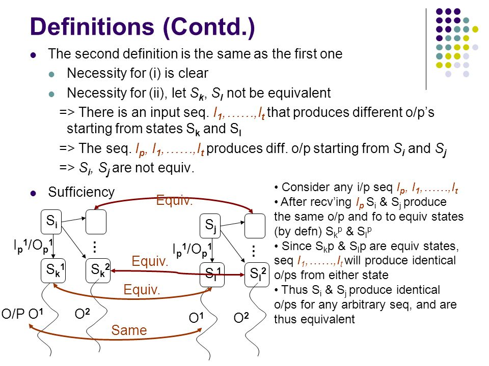 Definitions (Contd.) The second definition is the same as the first one Necessity for (i) is clear Necessity for (ii), let S k, S l not be equivalent => There is an input seq.
