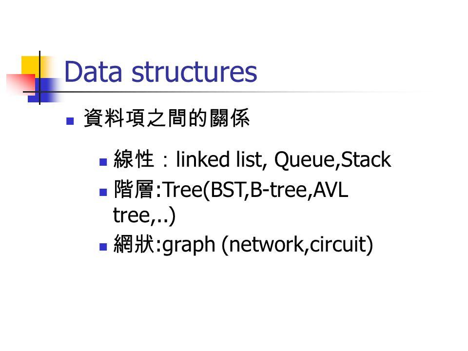 Data structures 資料項之間的關係 線性: linked list, Queue,Stack 階層 :Tree(BST,B-tree,AVL tree,..) 網狀 :graph (network,circuit)