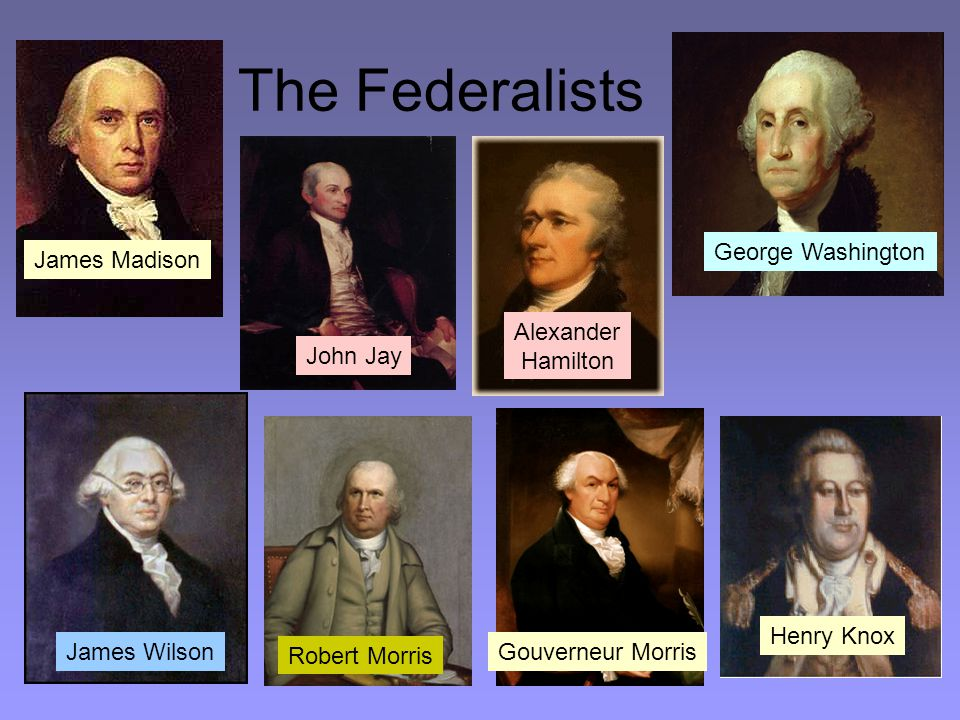 The Federalists James Wilson George Washington Alexander Hamilton James Madison Gouverneur Morris Henry Knox John Jay Robert Morris