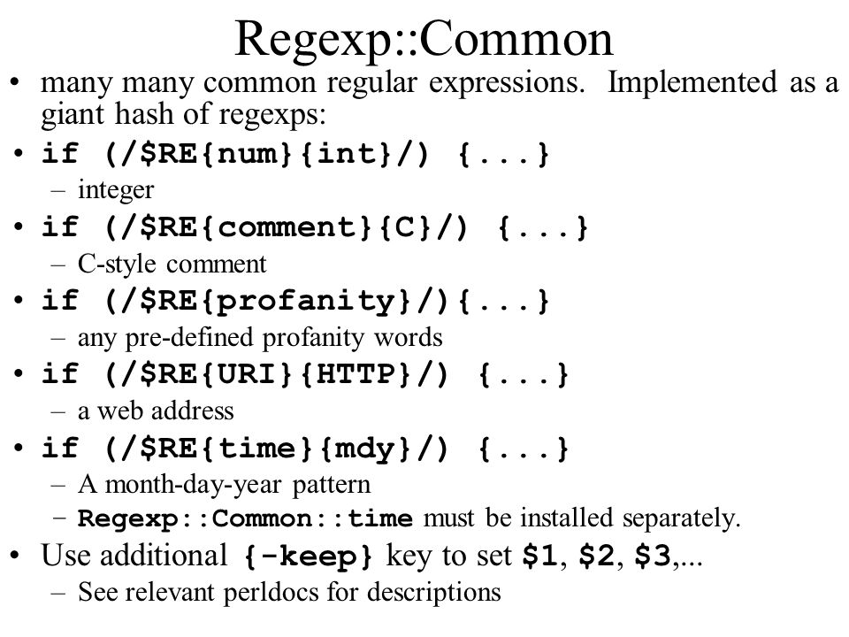 Regexp::Common many many common regular expressions.