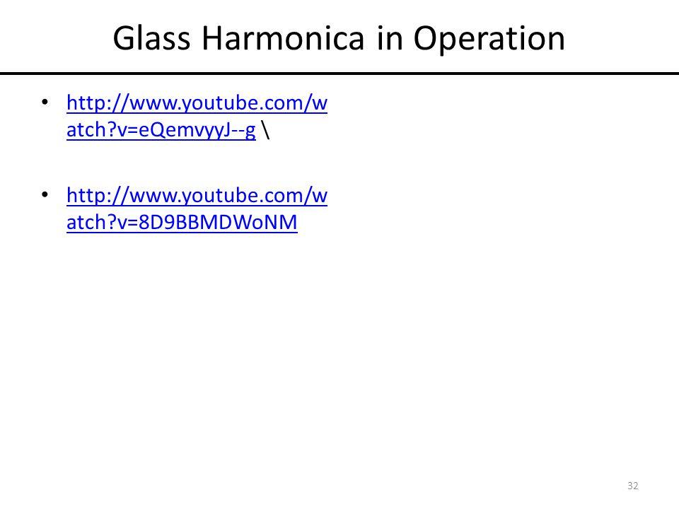 Glass Harmonica in Operation http://www.youtube.com/w atch?v=eQemvyyJ--g \ http://www.youtube.com/w atch?v=eQemvyyJ--g http://www.youtube.com/w atch?v=8D9BBMDWoNM http://www.youtube.com/w atch?v=8D9BBMDWoNM 32