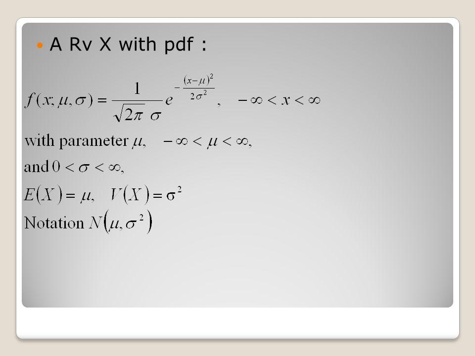 A Rv X with pdf :