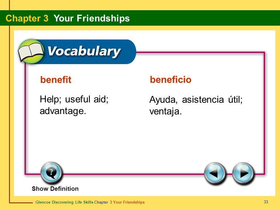 Glencoe Discovering Life Skills Chapter 3 Your Friendships Chapter 3 Your Friendships 33 benefit beneficio Help; useful aid; advantage. Ayuda, asisten