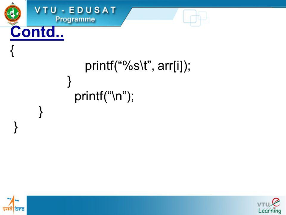 "Contd.. { printf(""%s\t"", arr[i]); } printf(""\n""); }"
