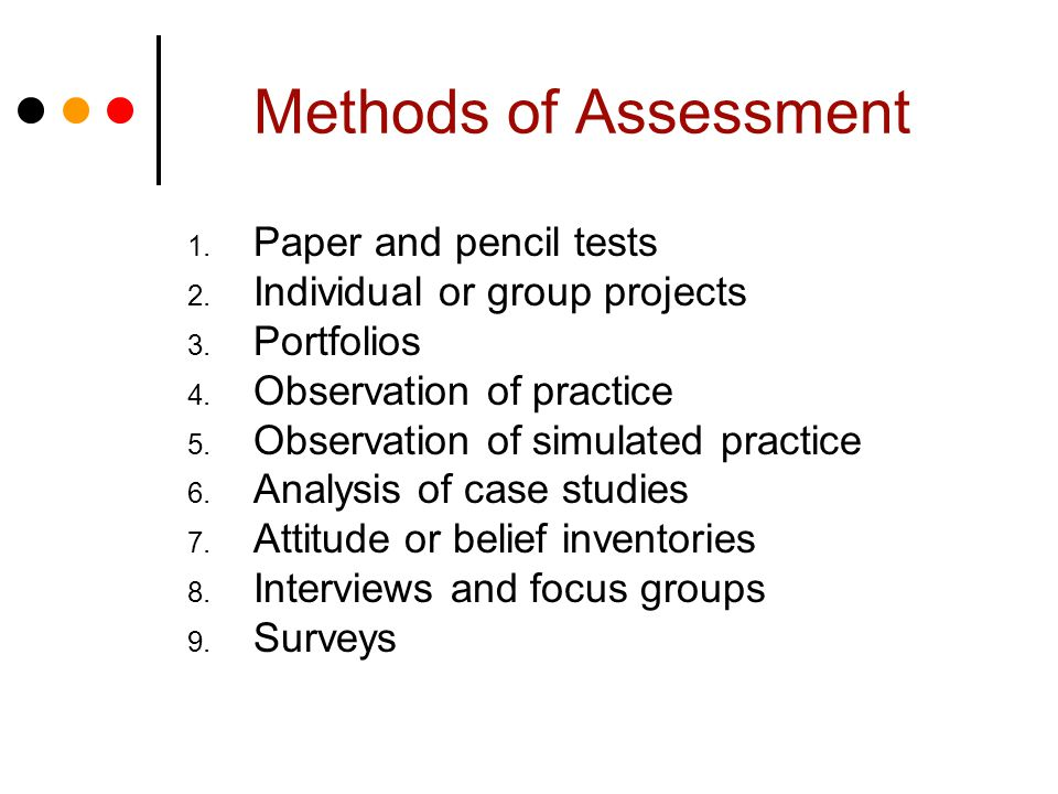 Methods of Assessment 1. Paper and pencil tests 2.