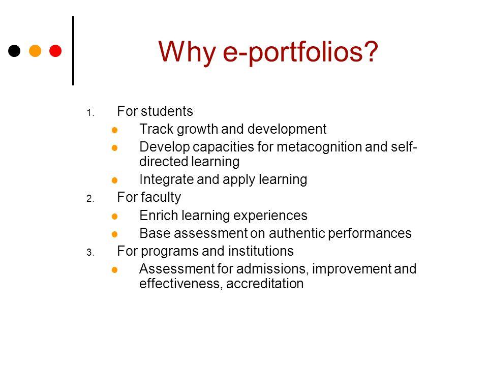 Why e-portfolios. 1.