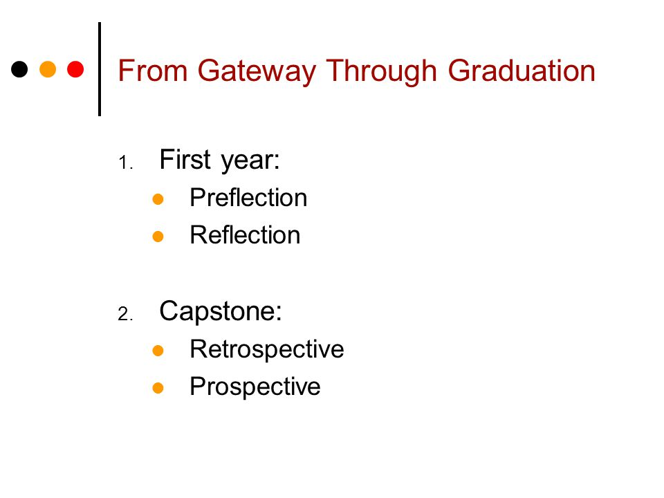 1. First year: Preflection Reflection 2. Capstone: Retrospective Prospective