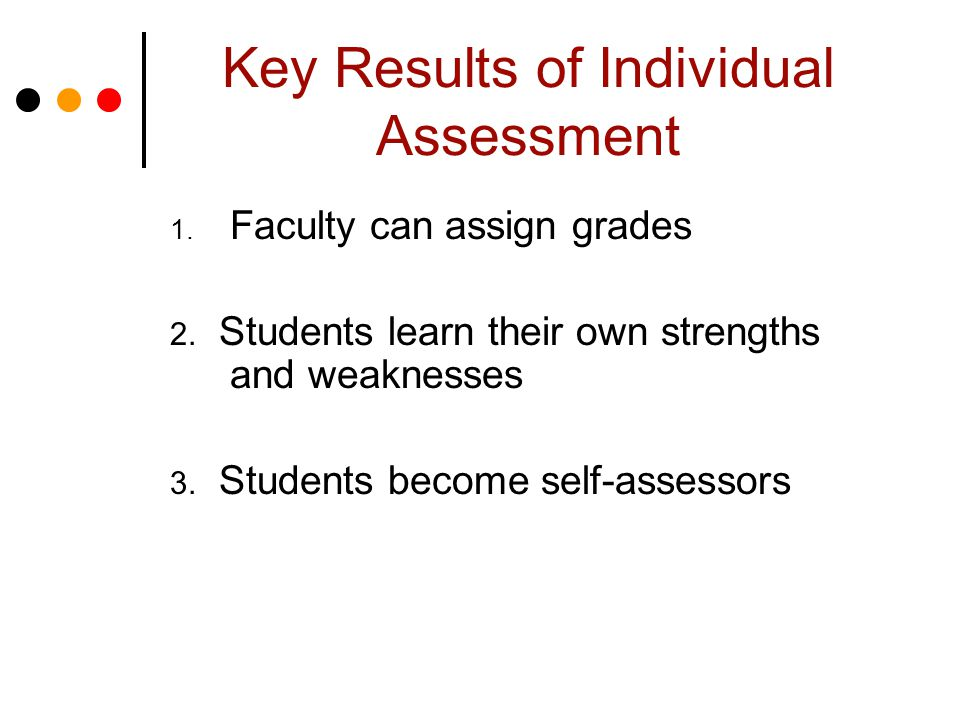 Key Results of Individual Assessment 1. Faculty can assign grades 2.