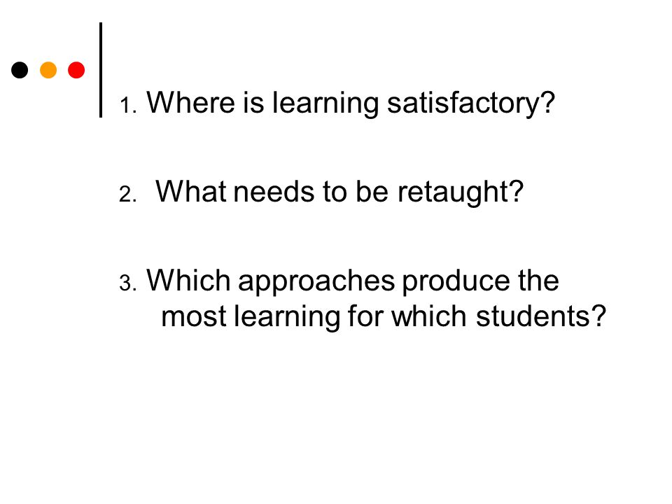 1. Where is learning satisfactory. 2. What needs to be retaught.